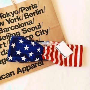 AMERICAN APPAREL AMERICAN FLAG BANDEAU SWIM BIKINI
